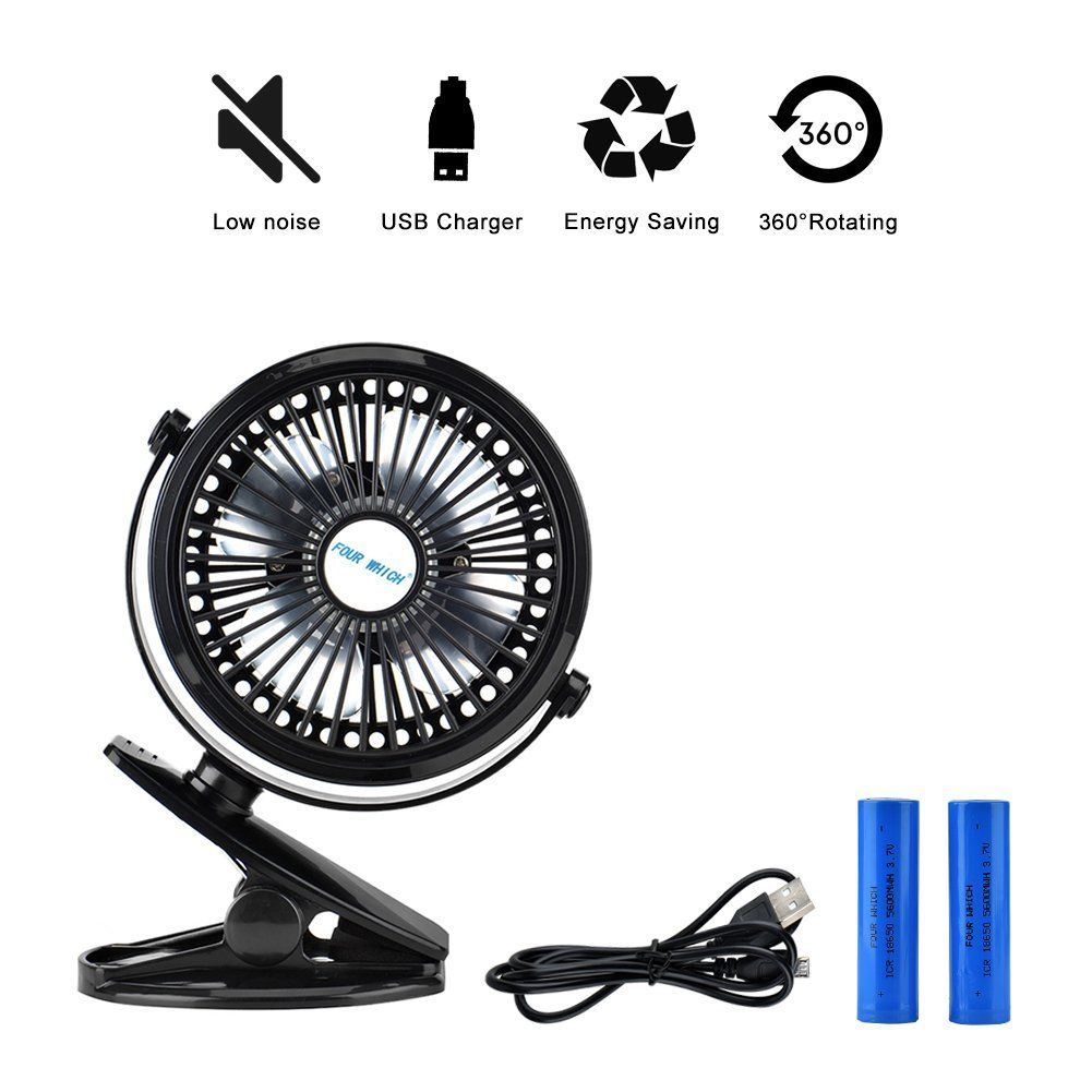 Wuudi Clip-on Battery Operated Mini Desk USB Fan - for Car Baby Stroller Camping Tent, Three Speed Adjustment (2 Rechargeable18650 Battery)
