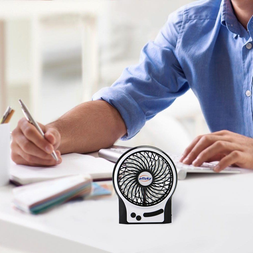 Efluky Mini USB 3 Speeds Rechargeable Portable Table Fan - 4.5-Inch, Black