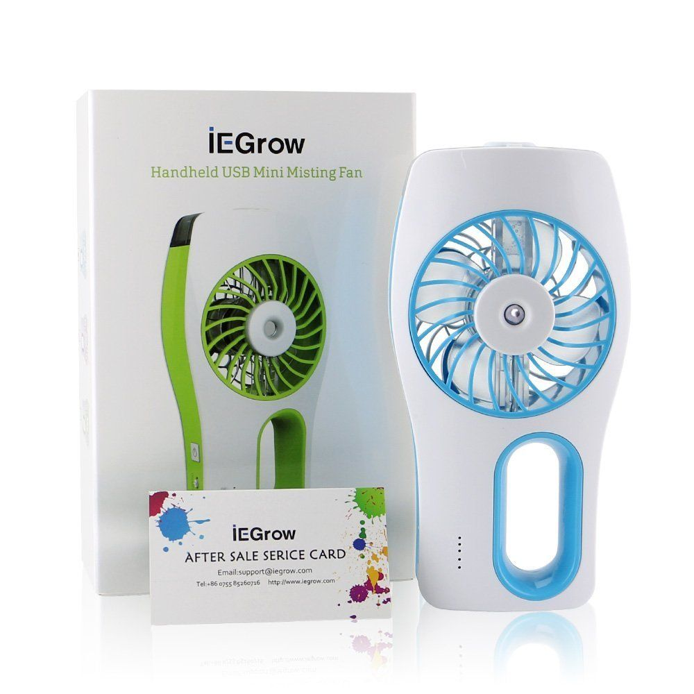 iEGrow Handheld USB Mini Misting Fan with Personal Cooling Humidifier Blue