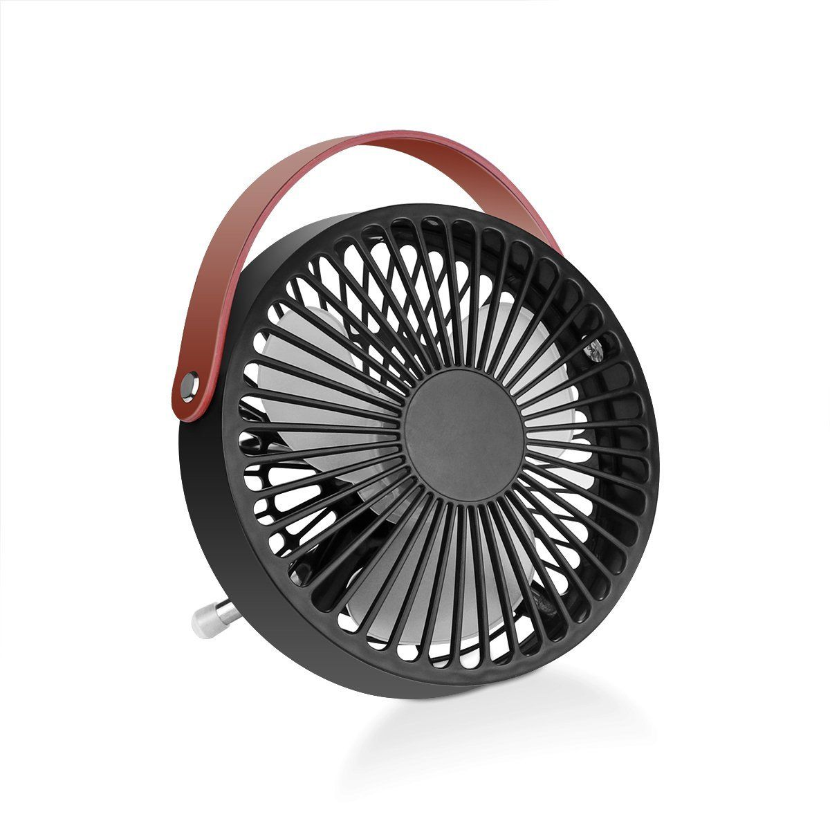 Konesky Small Desk USB Cooling Fan With Leather Handle   Quiet Office Fan  With Enhanced Airflow, Lower Noise, Fashion Design | GEECR
