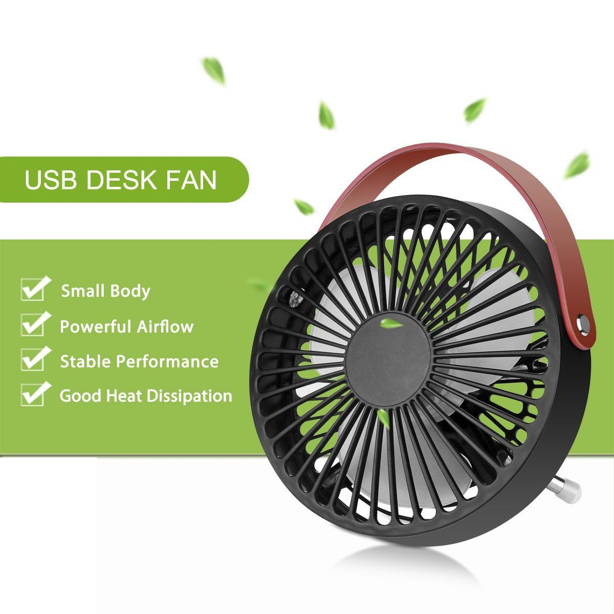Konesky Small Desk USB Cooling Fan With Leather Handle   Quiet Office Fan  With Enhanced Airflow