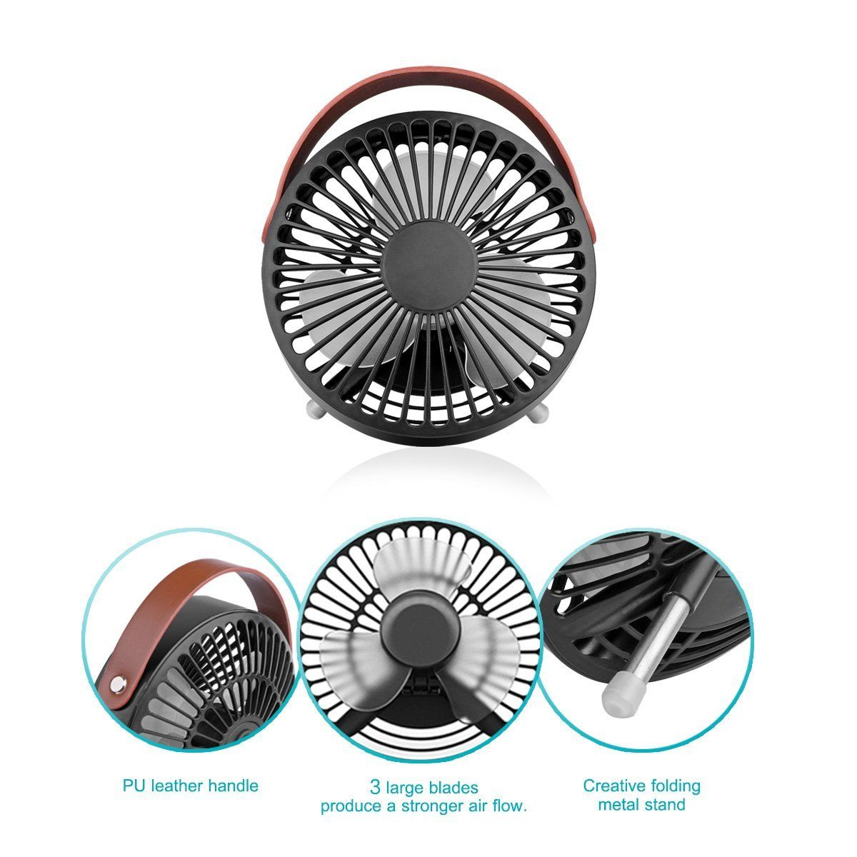 Konesky Small Desk USB Cooling Fan with Leather Handle - Quiet Office Fan with Enhanced Airflow, Lower Noise, Fashion Design