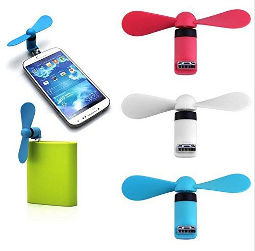 QKILL 3 PECES OTG USB Micro Phone Fan - Micro OTG Phone Mini Fan with Two Leaves Two Ports for Cellphone Samsung HTC Tablet Notebook (Random color!)