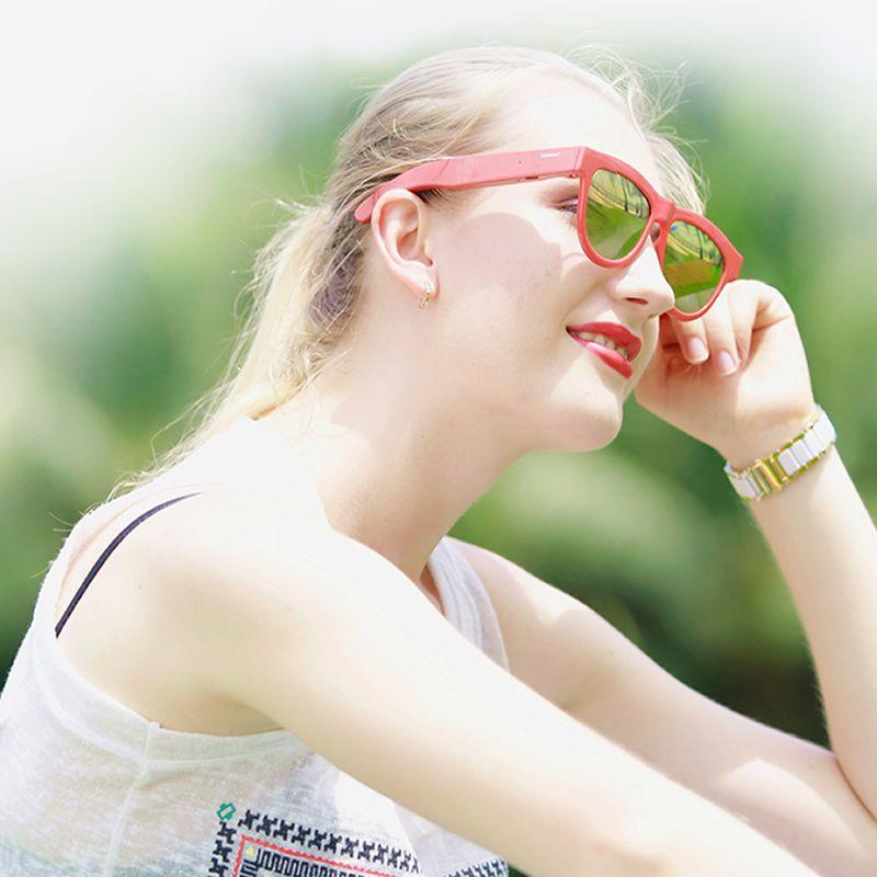 Wakeman Bone Conduction Bluetooth Anti-sleep Smart Sunglasses - Open ear conduction headphones support hand-free calls