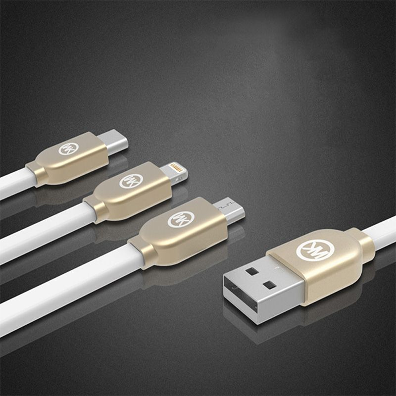 USB Type C / Lightning / Micro 3 in 1 Charging Cable 3.3Ft/1m (White)