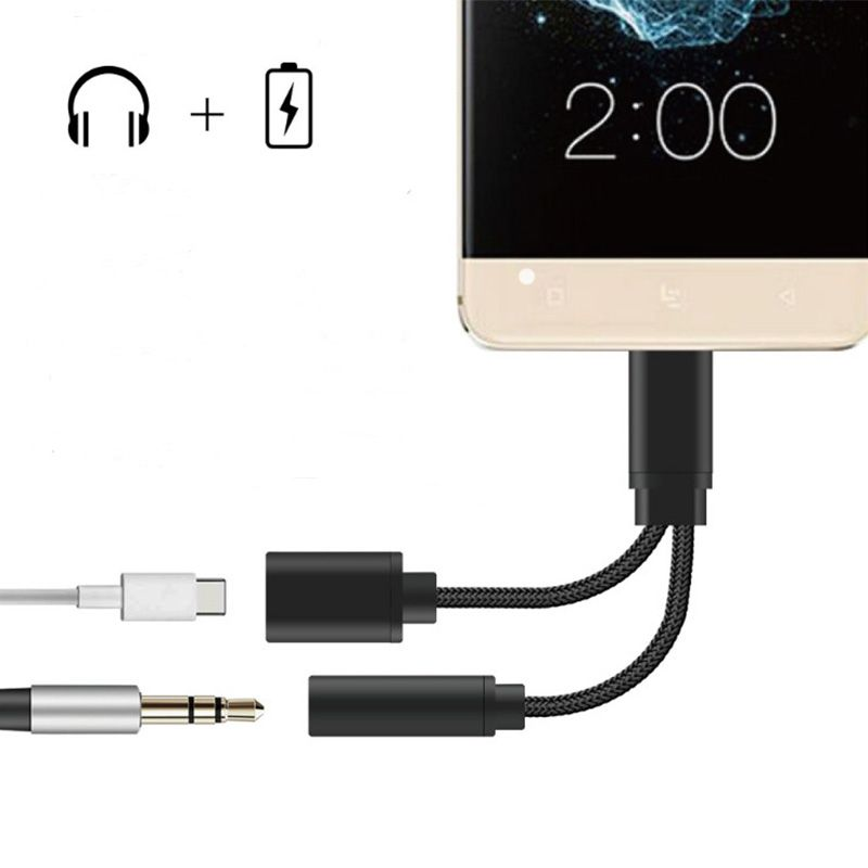 2 in 1 USB Type-C to 3.5mm Headphone Jack Adapter Cable