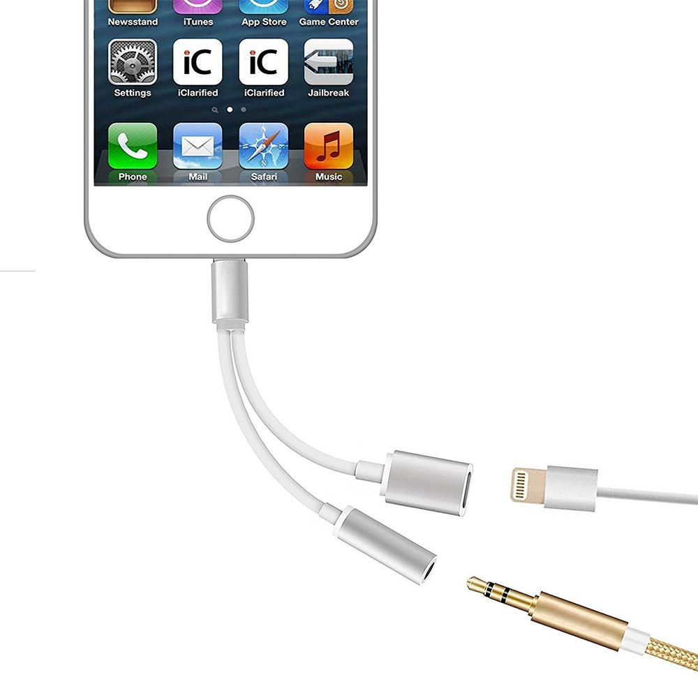 2 in 1 Lightning to 3.5mm Headphone Jack and Charging Adapter