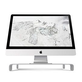 iQunix Spider Thick Aluminum Monitor Stand (Silver) Computer Riser Silver Holder for Monitor / Laptop / iMac / MacBook / PC with Keyboard Storage