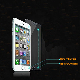 GEECR iPhone 6 6S Smart Touch Tempered Glass Screen Protector - Comes with Smart Confirm and Return Buttons, 9H Hardness resists scratches, 99% HD Clarity and Touchscreen Accuracy