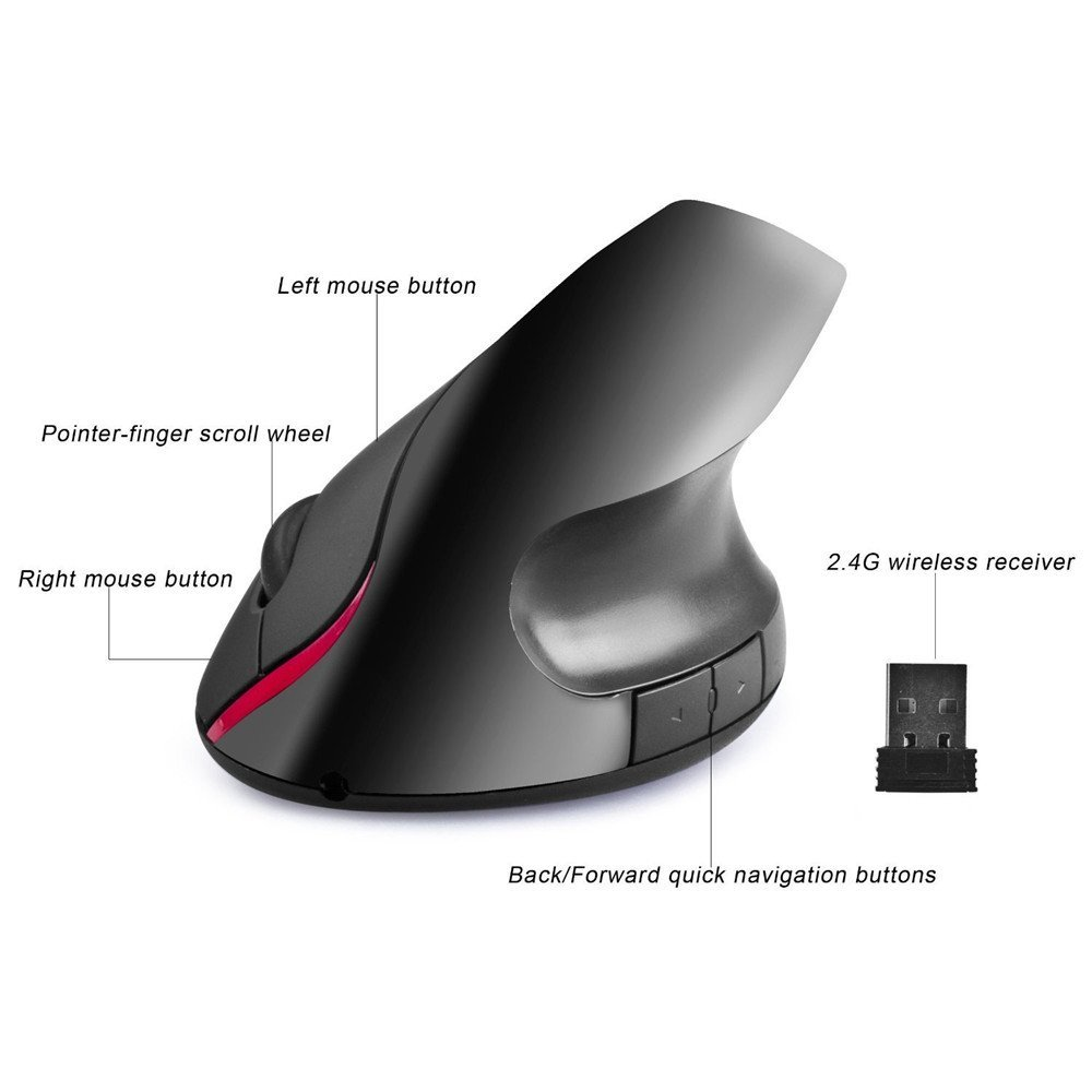 GEECR Vertical Mouse - Black - 2.4G Wireless Vertical Ergonomic Optical Mouse, 800 /1200/1400/1600 DPI, 5 Buttons