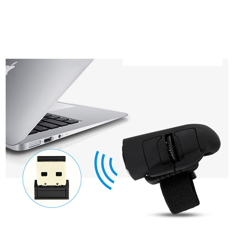GEECR Wireless Optical Finger Mouse - Black - 2.4GHz USB Wireless Finger Mouse,1600DPI, Made For PC Laptop Desktop