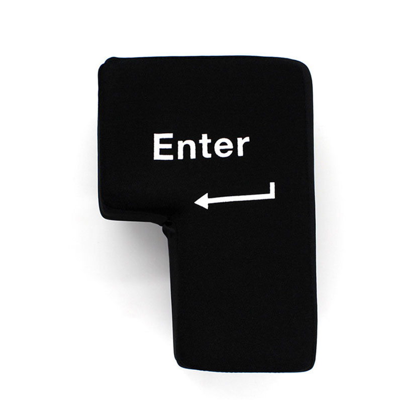 Giant Enter Button Throw Pillows Black