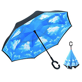Double Layer Inverted Umbrella - Windproof UV Protection Self Standing Reverse Umbrella for Car and Outdoor Use