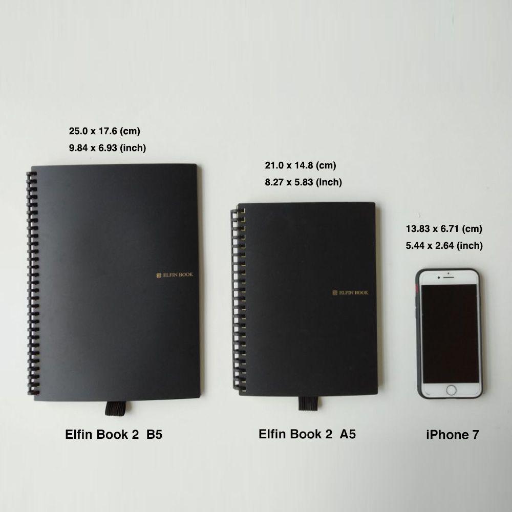 Elfin Book 2.0 Smart Reusable Microwave Notebook - Microwavable notebook, Erasable and reusable up to 500 times, Loose leaf binding rings, Cloud storage notebook