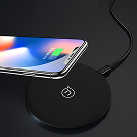 USAMS Wireless Charging Pad(Black) - Fast Wireless Charging for iPhone X, iPhone 8 Plus, iPhone 8, Samsung Galaxy S8 and Any Qi Enabled Device
