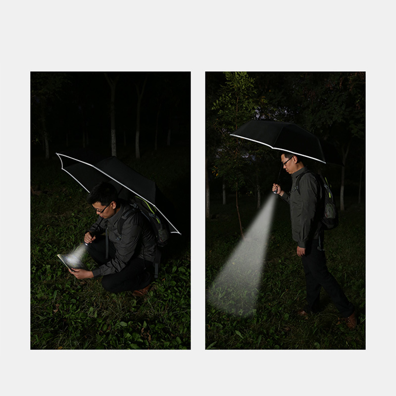 MT·EAGLE Automatic Safety Umbrella(Black)  - Break car windows in case of emergency/ Led Rotatable Flashlight/ 360° reflecting edge design/ Automatic opening closing