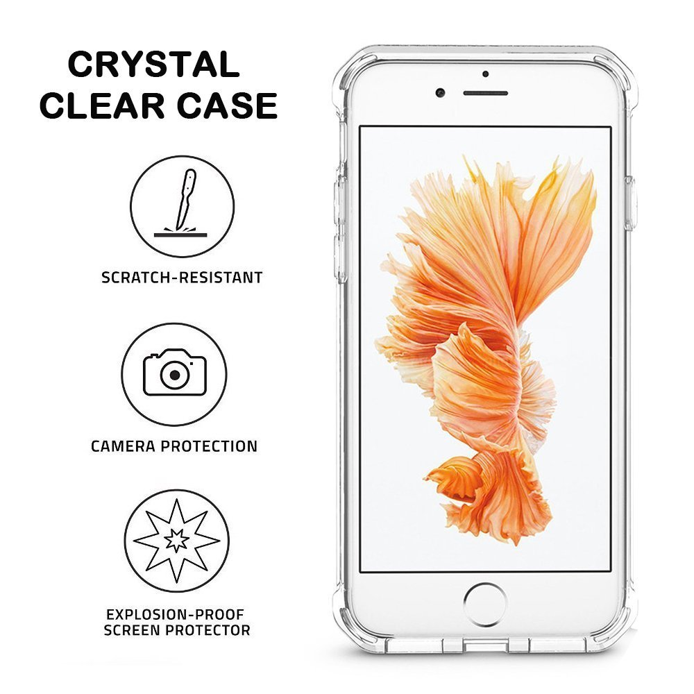 Apple iPhone 8 iPhone 7 Protective Case - Crystal Clear Shock Absorption Technology Bumper Soft TPU Cover Case for iPhone 8 and iPhone 7