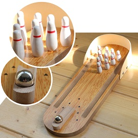 Mini Desktop Bowling - Mini funny desktop bowling games wooden bowling toys office gifts