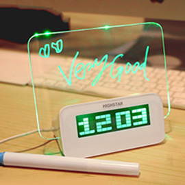 HIGHSTAR Led Digital Alarm Clock with Message Board - Digital Fluorescent Message Board with 16 Songs and Temperature, Calendar Timer Functions (4 USB Ports)