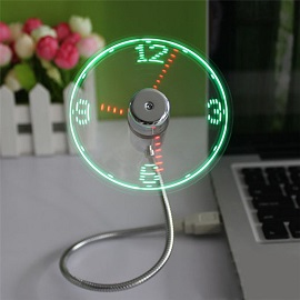 Mini USB LED Clock Fan - Creative adjustable mini USB fans with led time
