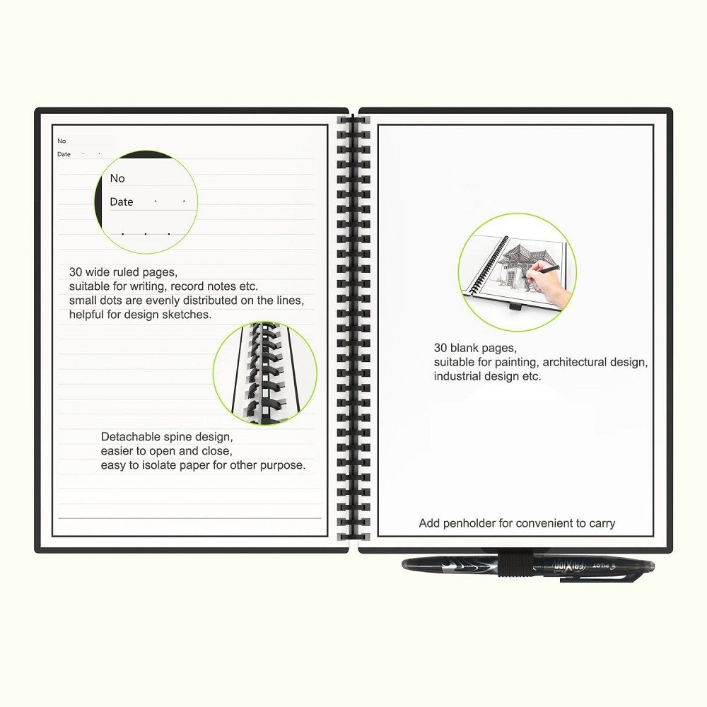 Elfinbook 2.0 Microwavable Erasable Notebook - Microwavable notebook, Made out of rock stock, Erasable and reusable up to 500 times, Loose leaf binding rings, Cloud storage notebook