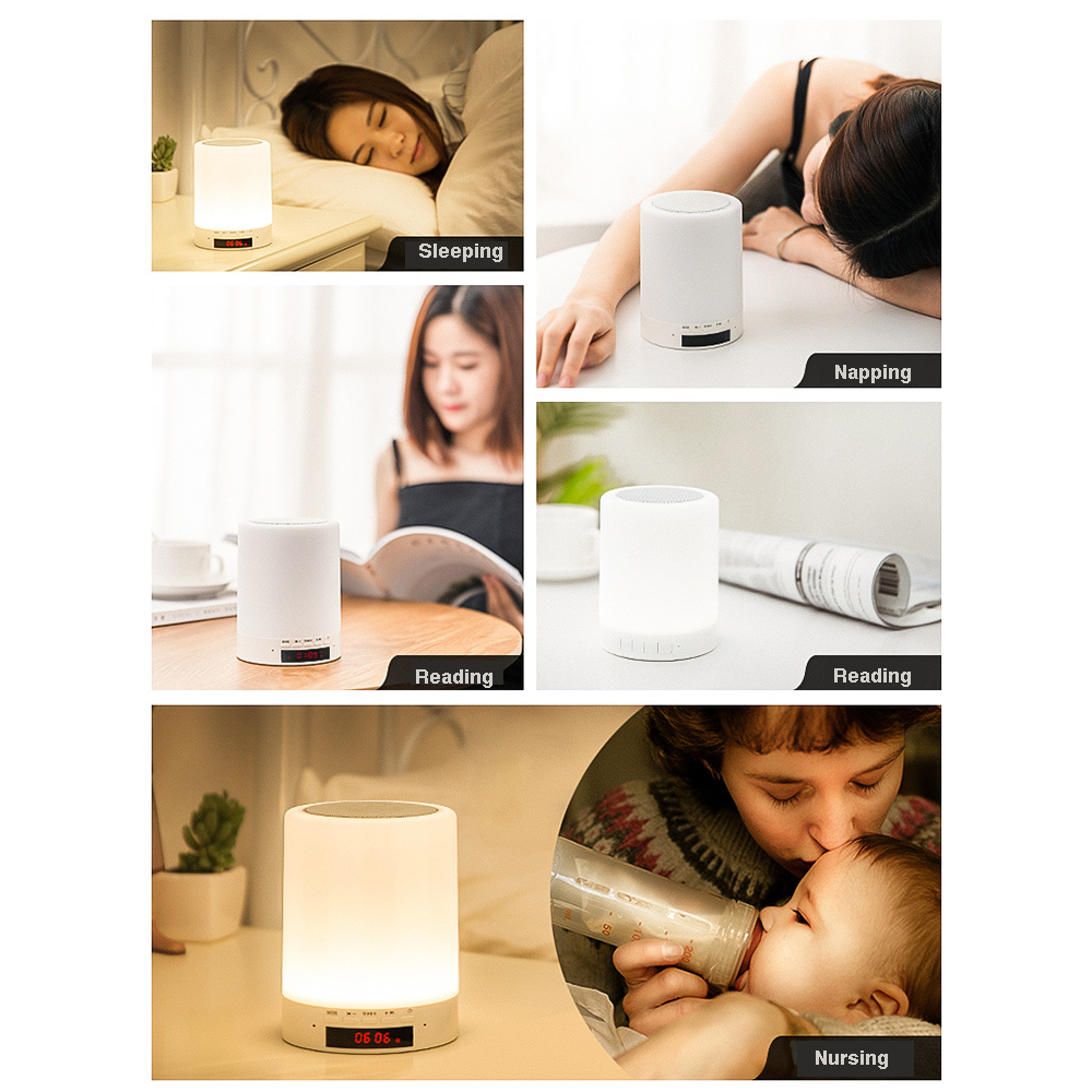 OneFire Bluetooth Speaker Lamp - Bluetooth Speaker + Touch Control LED Night Light + MP3 Player + Alarm Clock