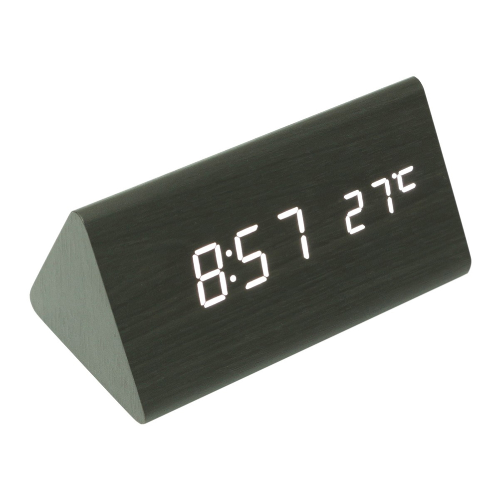 Wooden Digital Clock - Digital clock with time temperature display and voice control