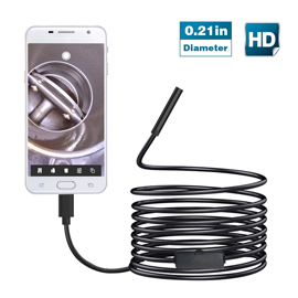 Teslong USB Endoscope For Android Devices NTC-720P-0.21inch-16.4ft 720P Image Quality, 0.21inch Inspection Camera, 16.4ft Semi-rigid Waterproof Probe, With USB Adapter