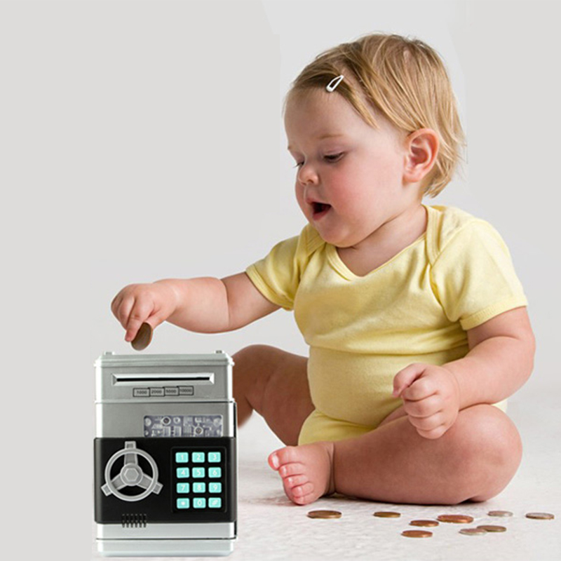 Locking Piggy Banks Cash Coin Can - Electronic ATM-Style Password Bank, Automatic Paper Money Scroll, Gifts for Kids