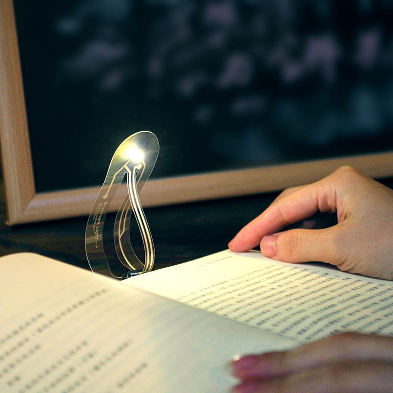 JANPIM Cool Bookmark Clip On Book Light - Paper-thin Transparent Design, Eye Protective Warm Light, Adjustable Angle, Replaceable Button Battery