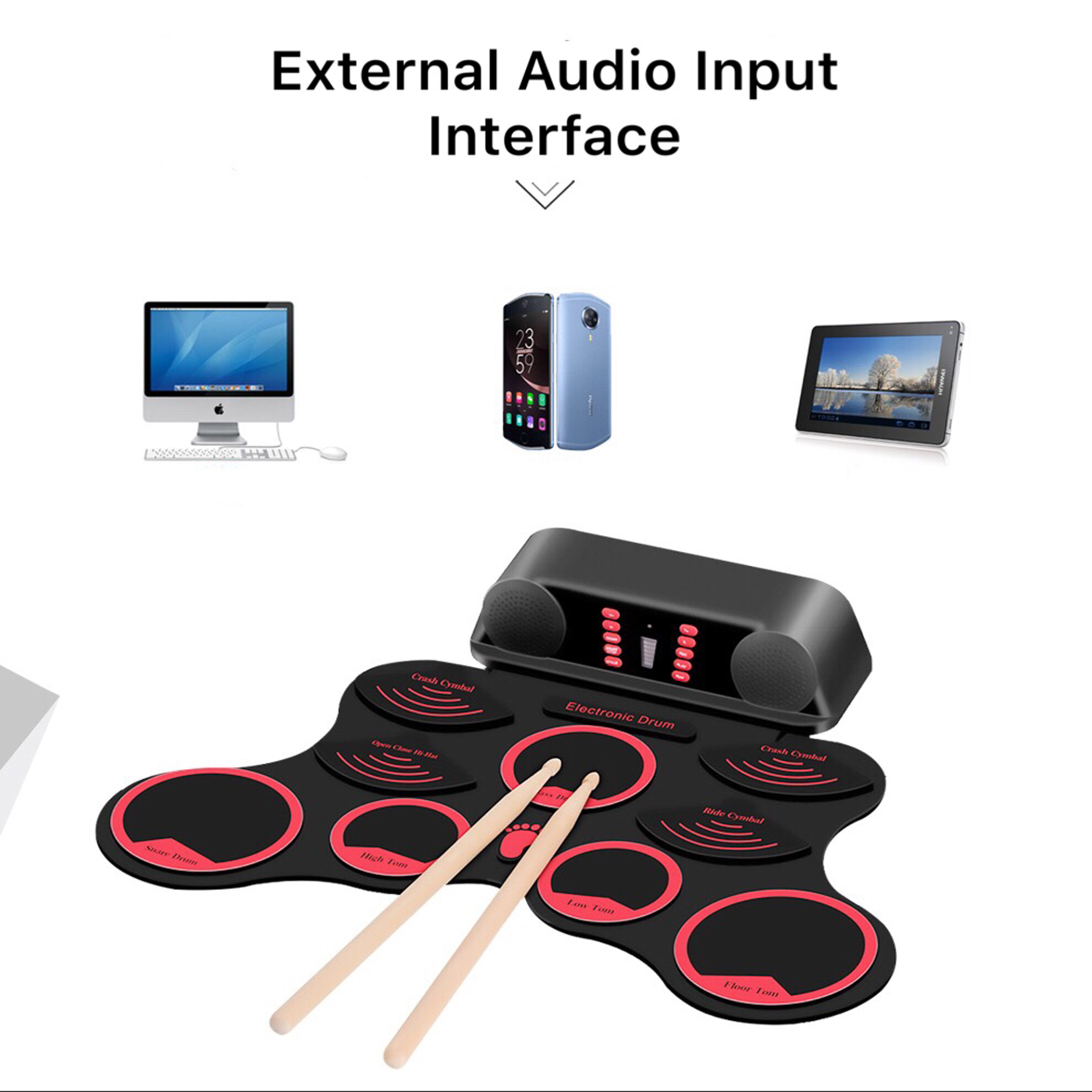 KONIX portable HAND ROLL electronic drum