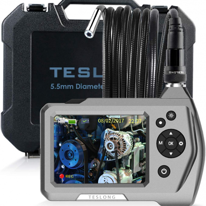 Teslong NTS150RS Industrial Flexible Endoscope 3.5 Inch LCD Screen, Semi Rigid Cable, 0.21 Inch Tip Diameter, 3.28ft/9.84ft