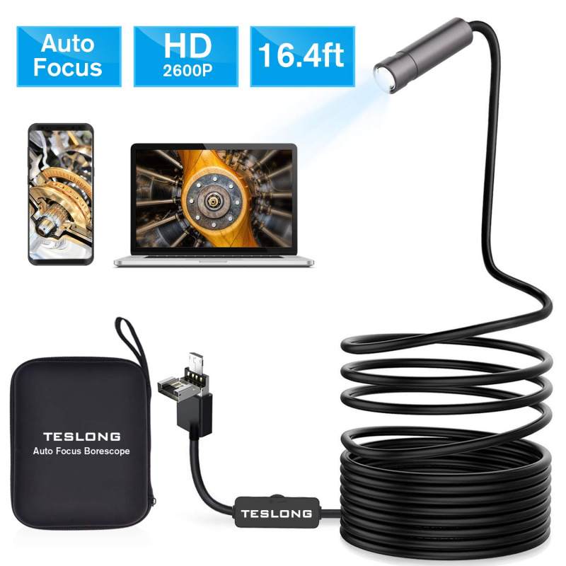 Teslong Auto Focus Endoscope Camera with 5.0 Megapixels FHD Micro Inspection Camera
