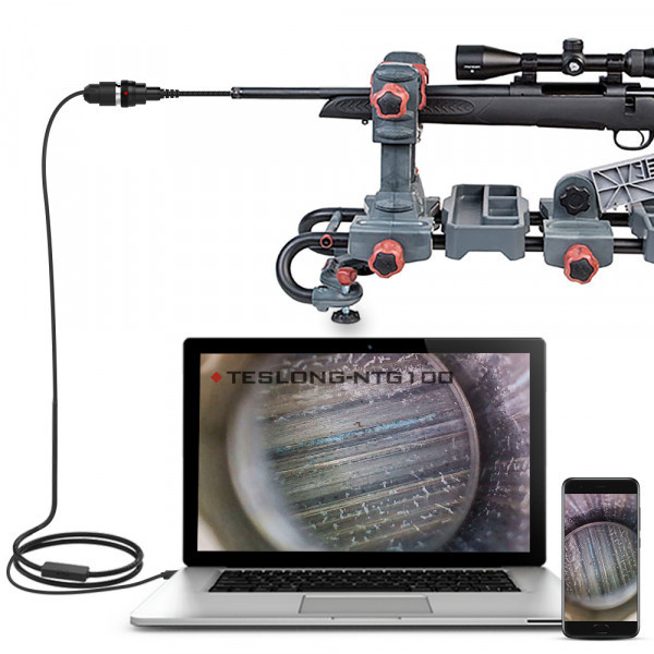 Teslong Rifle Bore Scope 1.0 Megapixel with 3pcs side view mirrors 0.2inch Gun Barrel Borescope Camera with Short Focus Camera, Side-View Mirror, for Windows, Mac, Linux and Android