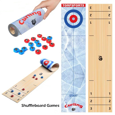 2 IN 1 Portable Tabletop Shuffleboard Curling Games for Outdoor Travel Family Party