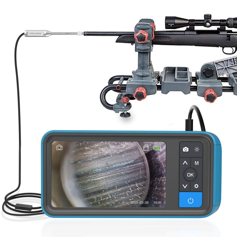 Teslong Rod Digital Gun Barrel Bore Scope Videoscope Inspection Camera with 4.5 inch IPS Color Screen 0.2inch Diameter 26inch Long Insertion Tube